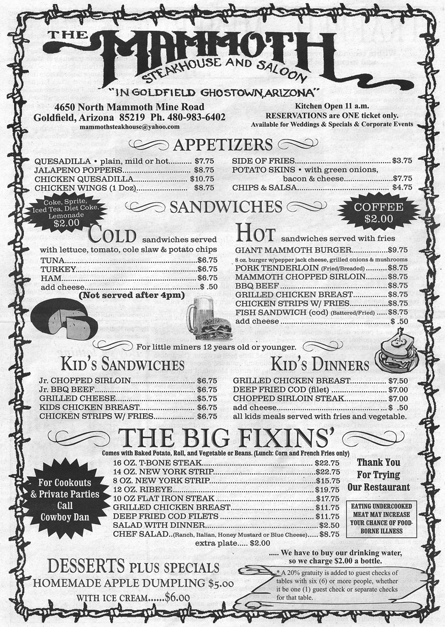 Saloon Menu